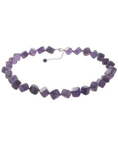 BNWT Purple 350 Carats Of Semi-Precious Amethyst Cube Lobster Clasp Necklace