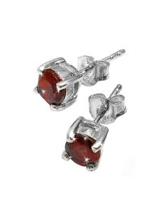 Brand New Womens Garnet Stud 5 - 6mm Earrings Set In Solid 925 Sterling Silver