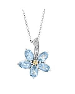 New Forget Me Not Sapphire & Blue Topaz Pendant Necklace & Earrings Set