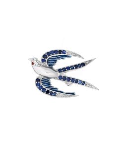 Sapphire Silver Swallow Brooch + Free sp ball studs
