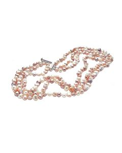 Magnificent 3 Row Shades of Pink Spring Freshwater Cultured Pearl Necklace