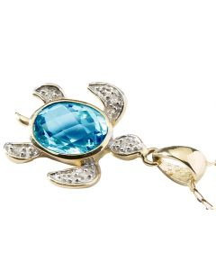 BNWT Anderson & Webb Mystic Blue Topaz Gold Plated Silver Turtle Pendant Necklace