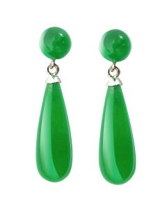 Green Jade and Silver Drop Earrings Set in Sterling Silver. Approx. 2.7cm