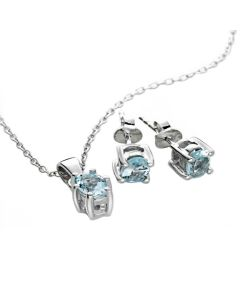 BNWT Anderson and Webb Aquamarine Oval Suite in Sterling Silver