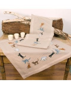 Curious Cats Stem & Cross Stitch Tablecloth And Runner Embroidery Set