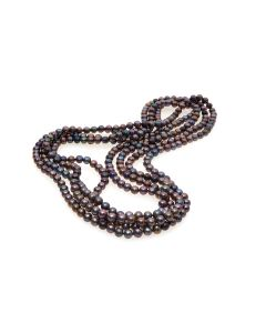 "BN Long 100"" Black Freshwater Cultured Pearl Necklace On Knotted Silk - RRP £199"