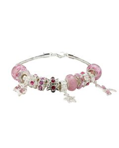 Pink Charm 19cm Bracelet With 12 Charms Including A Butterfly & Twinkling Stones