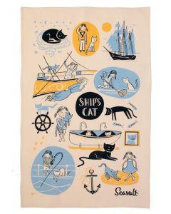 Seasalt Ships Cat & First Mate Tea Towel