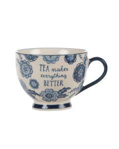 Blue Willow Floral Mug