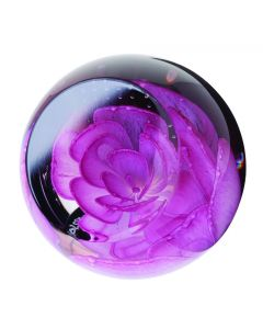 Caithness Glass - Pink Rose Foral Charms Paperweight