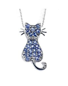 Womens Tanzanite And Diamond Cat Pendant Necklace With Free Ball Stud Earrings