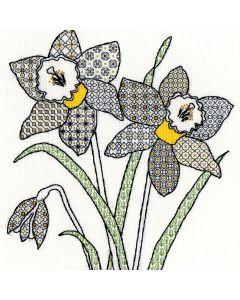 Craft Daffodils Blackwork Stitch Kit