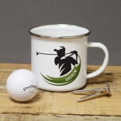 Golf Player Enamel Mug