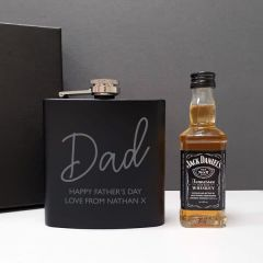 Hip Flask and Miniature Jack Daniels