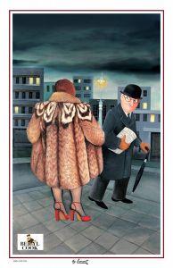Beryl Cook My Fur Coat Tea Towel