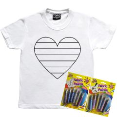 Colour your own Rainbow Heart T-Shirt Kids
