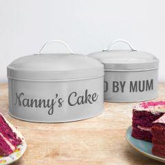 Personalised Grey Cake Tin