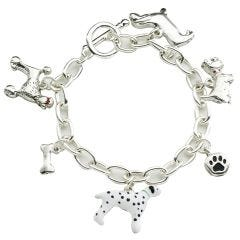 New Dogs Silver-Plated T-Bar 19cm Bracelet with 6 Charms And A T-Bar Clasp