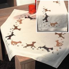 Playful Dogs  Embroidery Tablecloth & Runner Kit - Uses Cross & Back Stitch
