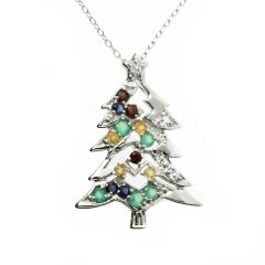Festive Semi Precious Gemstones Christmas Tree Silver Jewelled Pendant Necklace