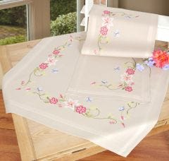 Pink Flowers & Blue Butterflies Long Stitch Embroidery Tablecloth & Runner Kit