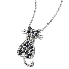 Black Sapphire Cat Pendant And 925 Sterling Silver Necklace