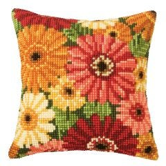 Gerberas Cross Stitch Cushion Kit