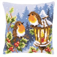 Winter Robins Cross Stitch Cushion Kit