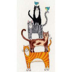 Cat Stack Counted Cross Stitch Kit