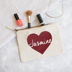 Personalised Heart Makeup Bag