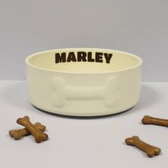 Large Cream Ceramic Pet Bowl