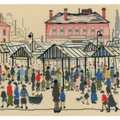 LS Lowry Style: Market Scene, Northern Town