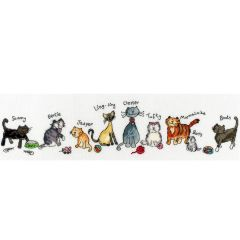June Armstrong: Row of Cats Counted Cross StitchKit
