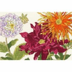 Counted Cross Stitch Japanese Woodblock: Dahlias Picture Kit