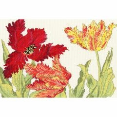 Counted Cross Stitch Japanese Woodblock: Tulips Picture Kit