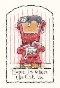 Counted Cross Stitch Kit: Home Is Where The Cat Is