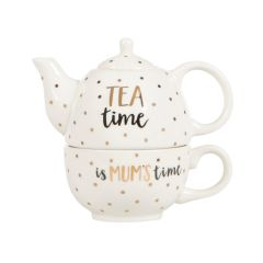 Modern Monochrome Mum Time Teapot For One