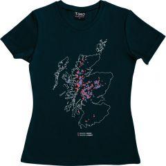 Munros and Corbetts Map Ladies T-shirt