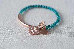 Turquoise Rose Gold Pendant Bracelet