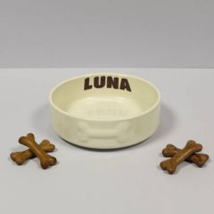 Small Cream Ceramic Pet Bowl