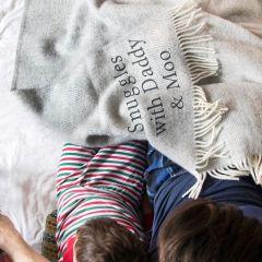 Personalised Grey Wool Blanket