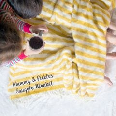 Personalised Yellow Stripe Wool Blanket