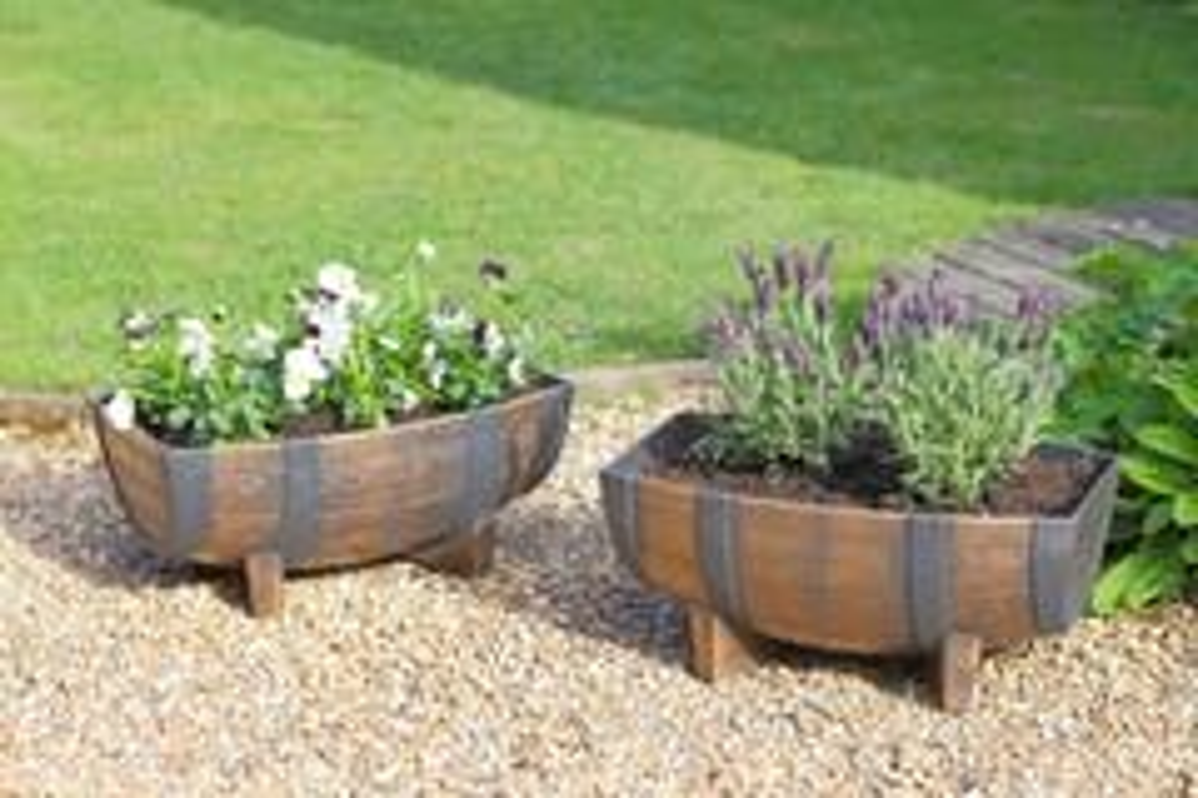 Wooden Style Half Barrel Planters