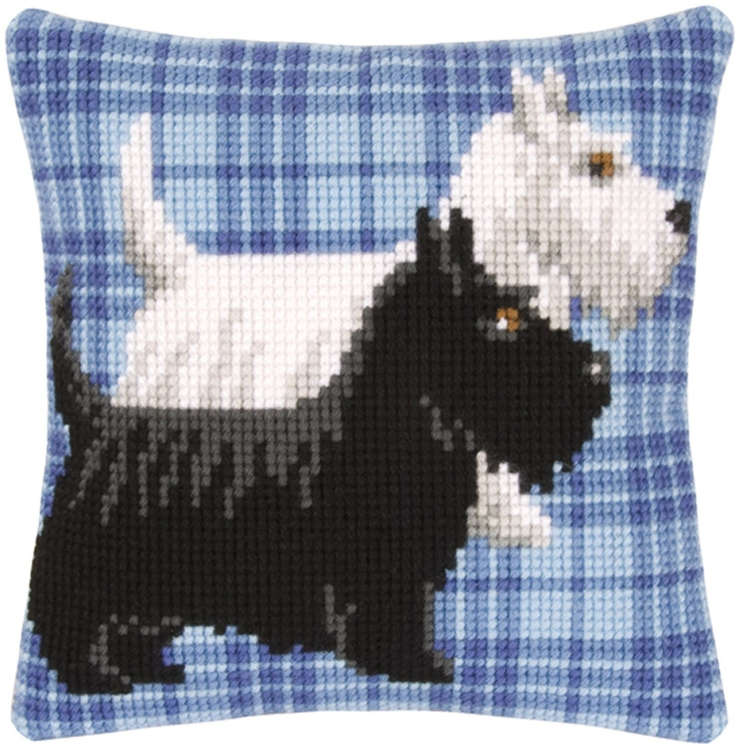 Image of Westie And Scottie Dogs Cross Stitch Cushion Front Kit