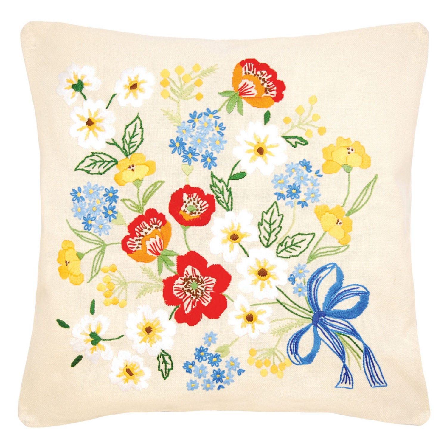 Image of Summer Bouquet Embroidery Cushion Kit