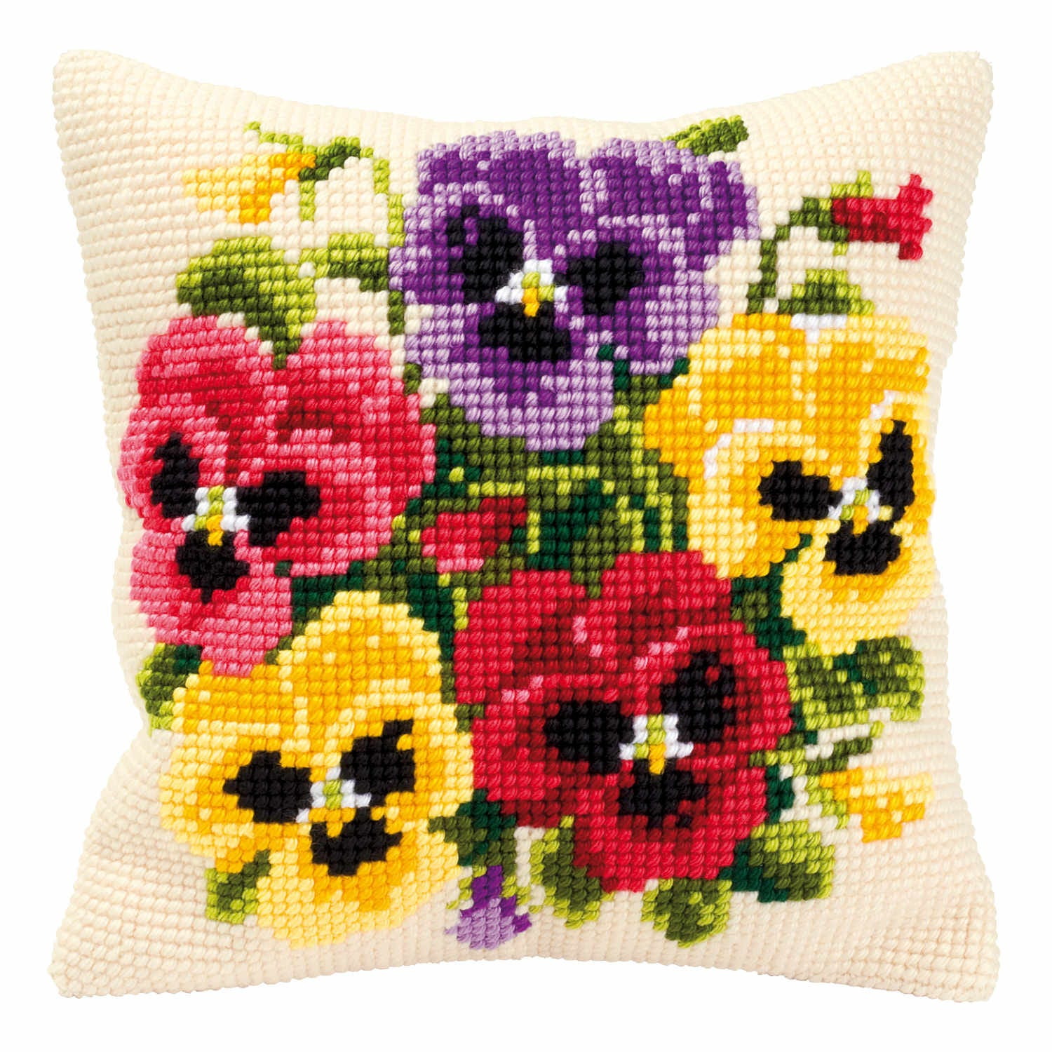 Product image for Pansies On Cream Cross Stitch Cushion Front Kit