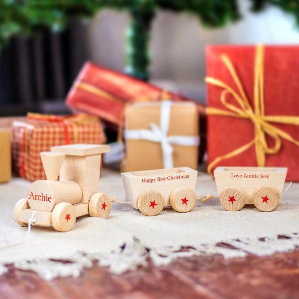Personalised Christmas Wooden Train Set