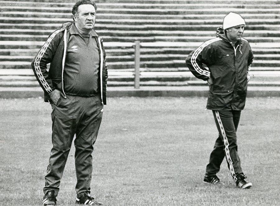 Jock Stein (left) and Jim McLean (right) in 1979.