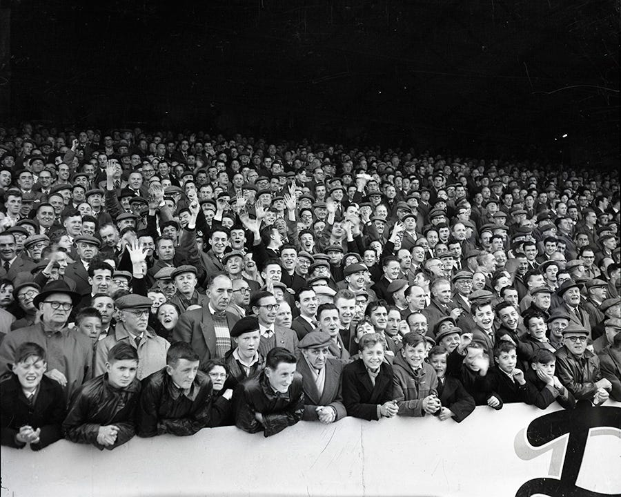 Dundee United Crowd at game against Berwick Rangers (30 April 1960)