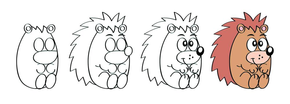 Draw autumnal animals - hedgehog